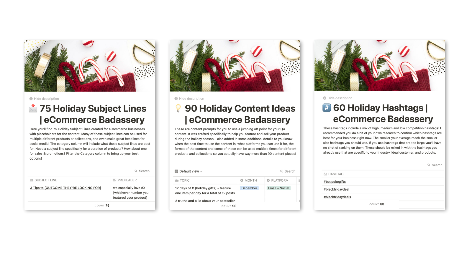 Holiday content prompts and email marketing subject lines for product-based businesses